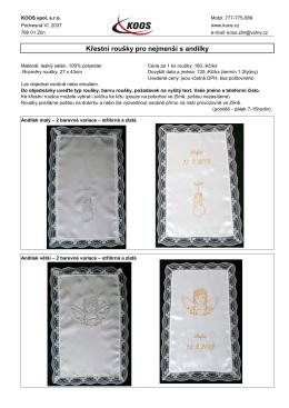 křestní roušky - roušky ke křtu pro nejmenší - s andílky