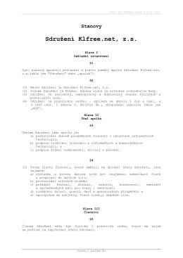 Stanovy ze Schůze členů dne 23.6.2015