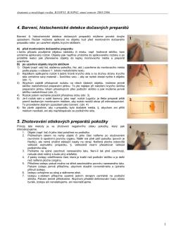 4. Barvení, histochemické detekce dočasných preparátů 5