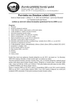 Jizersko-ještědský horský spolek Pozvánka na členskou schůzi JJHS,