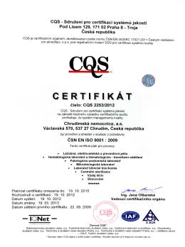 Certifikace společnosti ČSN EN ISO 9001:2009 a ČSN ISO/IEC