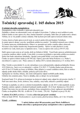 Zpravodaj Obce Točník číslo 165 duben 2015