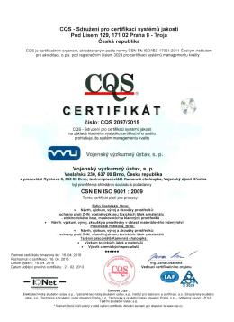 Certifikát CQS 2097_2015