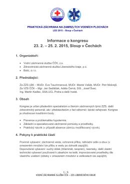 Informace o kongresu 23. 2. – 25. 2. 2015, Sloup v Čechách