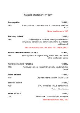 Seznam příplatkové výbavy Mazda CX-9