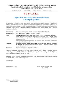 Seminář - označování masa a MV (2015)
