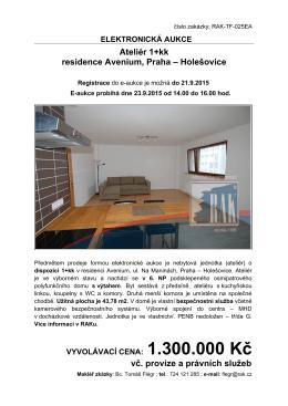 Ateliér 1+kk residence Avenium, Praha – Holešovice