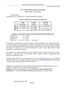 Úvodní leták se základními informacemi k 65. ročníku MO