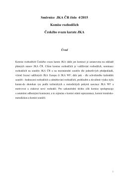 Směrnice JKA ČR číslo 4/2015 Komise rozhodčích Českého svazu