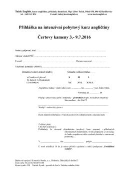Přihláška na intenzívní pobytový kurz angličtiny Čertovy kameny 5