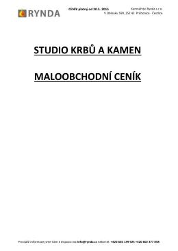 maloobchodní ceník studio krbů a kamen