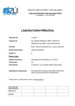 laboratorní příručka - Zdravotní ústav se sídlem Ústí nad Labem