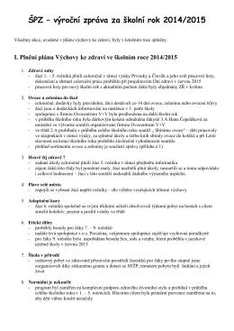 ŠPZ – výroční zpráva za školní rok 2014/2015