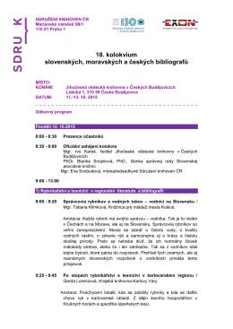 Odborný program - Slovenská asociácia knižníc
