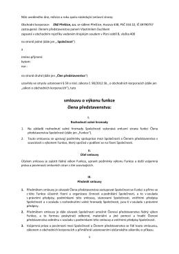 Smlouva o výkonu - člen představenstva