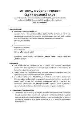 Smlouva o výkonu funkce člena dozorčí rady