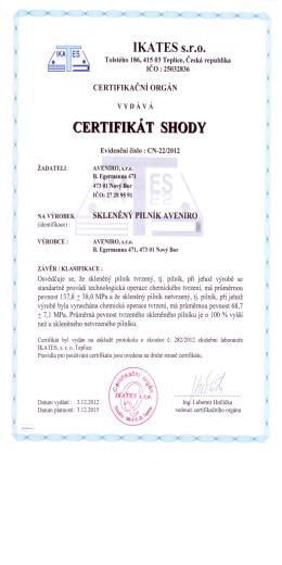 Certifikát shody