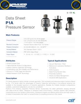 P1A Pressure Sensor Data Sheet