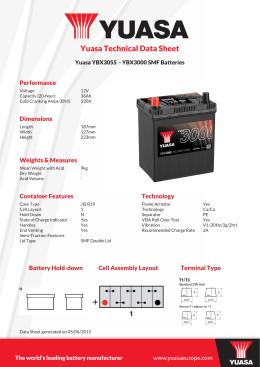 Yuasa Technical Data Sheet