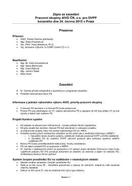 Zápis z PS pro DVPP ze dne 24.6.2015