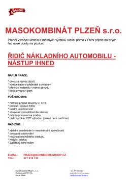 SCHNEIDER – masokombinát Plzeň s