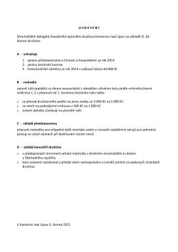 Usnesení ze shromáždění delegátů 2015