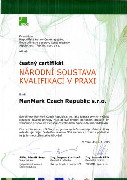 čestný certifikát - ManMark ECONOMY, s.r.o.
