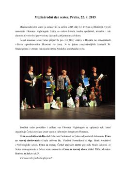 Mezinárodní den sester, Praha, 22. 9. 2015