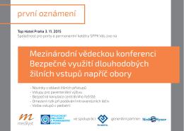 první oznámení Mezinárodní vědeckou konferenci Bezpečné využití