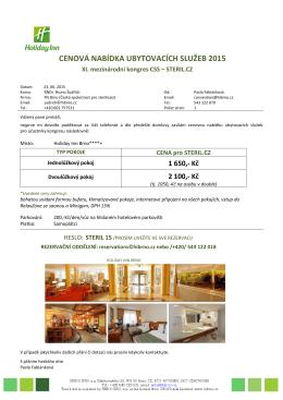 Cenová nabídka ubytování HIB_ XI.mezinárodní kongres