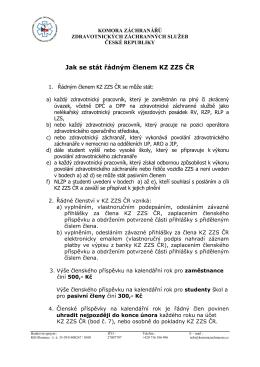 Jak se stát řádným členem KZ ZZS ČR