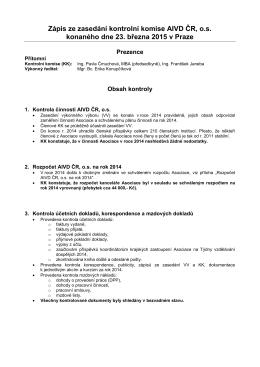Zápis ze zasedání kontrolní komise AIVD ČR, o.s.