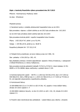 Zápis z kontroly finančního výboru provedené dne