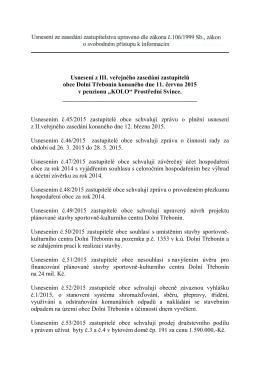 Usnesení z III. veřejného zasedání zastupitelů obce Dolní Třebonín