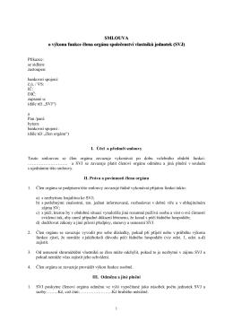 Smlouva o výkonu funkce člena orgánu SVJ