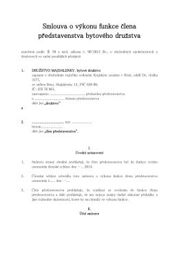 Smlouva o výkonu funkce člena představenstva bytového družstva
