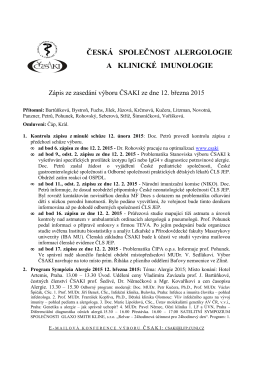 Zápis ze zasedání výboru ČSAKI ze dne 12. března 2015