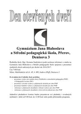 Program Dne otevřených dveří - Gymnázium Jana Blahoslava a