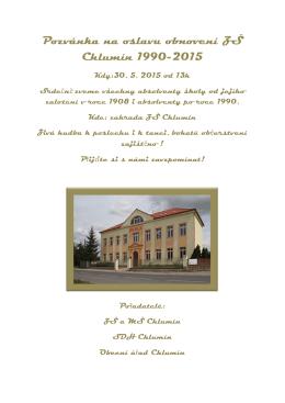 Pozvánka na oslavu obnovení ZŠ Chlumín 1990-2015