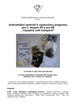 pozvánka Praha - Česká společnost pro ochranu netopýrů