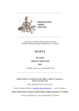 STATUT - Valtické vinné trhy