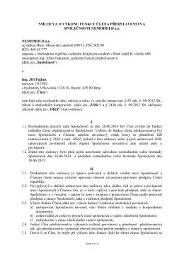 Smlouva o výkonu funkce člena představenstva