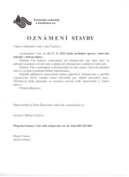 Oznámení o opravě vodovodu v obci Čachrov
