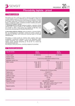 Převodníky teplota - proud – katalogový list