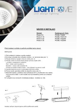NÁVOD K INSTALACI Model: Katalogové číslo: