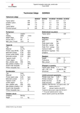 Technické Údaje GSW024