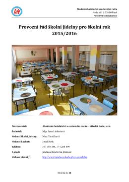 Provozní řád školní jídelny pro školní rok 2015/2016