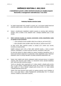Směrnice rektora: Bakalářské práce a státní závěrečná zkouška