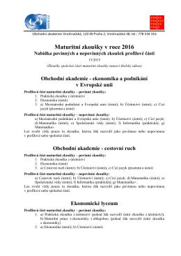 Maturitní zkoušky v roce 2016 - Obchodní akademie Vinohradská