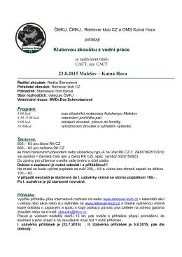 Klubovou zkoušku z vodní práce 23.8.2015